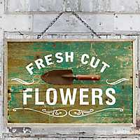 Fresh Cut Flowers Wooden Hanging Plaque