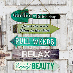 Garden Rules Wooden Hanging Sign