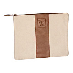 Monogram Leather W Cosmetic Bag