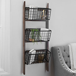 3-Tier Basket Ladder Wall Organizer