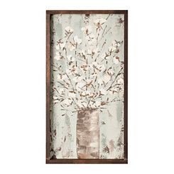 Cotton Stems in Vase Framed Art Print