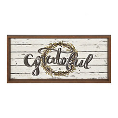 Shiplap Grateful Wreath Framed Art Print
