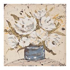 White Floral Canvas Art Print