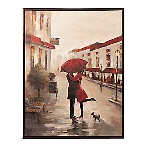 Red Umbrella Couple Framed Canvas Art Print