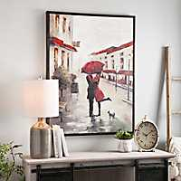 Red Umbrella Couple Framed Canvas Art Print