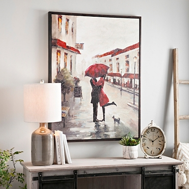 Red Umbrella Couple Framed Canvas Art Print. Canvas Prints   Canvas Art   Kirklands