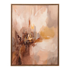 Greige Abstract Floral Framed Canvas Art Print