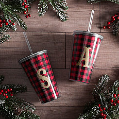 Buffalo Check Gold Monogram Tumblers