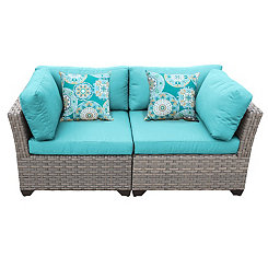 Aruba Turquoise Outdoor Seating Set, Set of 2