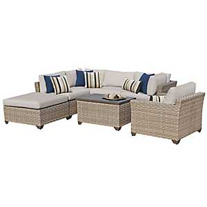 Aruba Beige Outdoor Seating Set, Set of 7