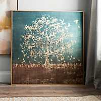 Golden Bird Tree Large Framed Canvas Art Print