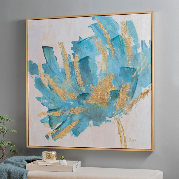 Turquoise and Gold Foil Flower Framed Art Print