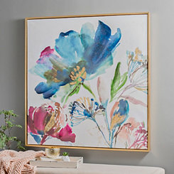 Turquoise Watercolor Floral Framed Art Print