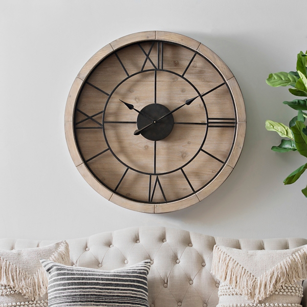 jackson metal and wood wall clock