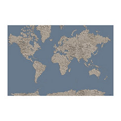 Silver on Slate World Map Canvas Art Print
