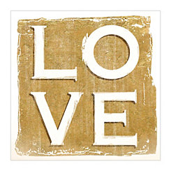 Gold and White Love Canvas Art Print