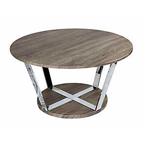Natural and Silver Round Cocktail Table