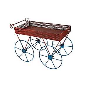 Red and Blue Metal Cart