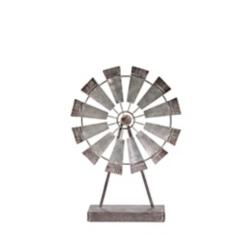Gray Metal Windmill Statue