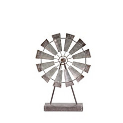 Gray Metal Windmill Statue