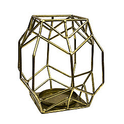 Gold Geometric Metal Candle Holder