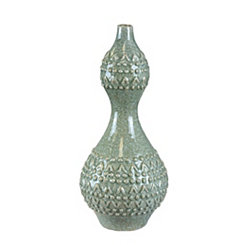 Light Green Ceramic Embossed Vase