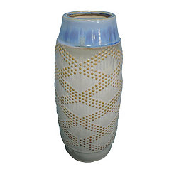 Beige and Blue Dotted Diamonds Ceramic Vase