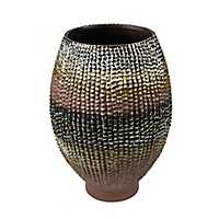 Bronze Gradient Embossed Ceramic Vase