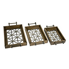 Wood and Metal Geometric Trays, Set of 3