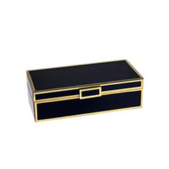 Black Wood and Glass Decorative Storage Box