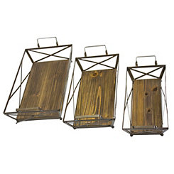 Wood and Metal Brown Johnny Trays, Set of 3