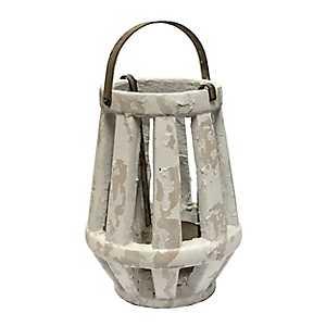 White Weathered Cement Lantern, 13 in.