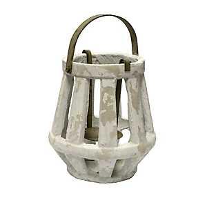 White Weathered Cement Lantern, 11 in.