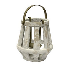 White Weathered Cement Lantern, 11 in.