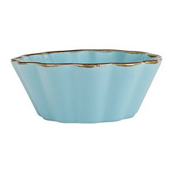 Teal Ruffled Bowl