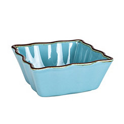 Teal Ruffled Square Ramekin