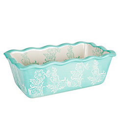 Teal Floral Ruffled Loaf Pan