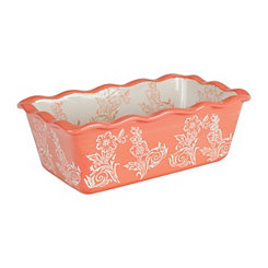 Coral Floral Ruffled Loaf Pan