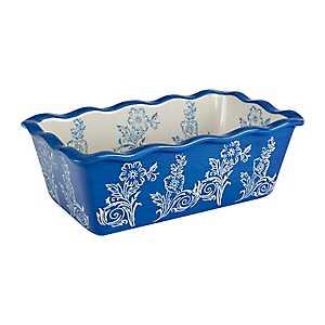 Cornflower Blue Floral Ruffled Loaf Pan