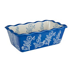 Cornflower Blue Floral Ruffled Loaf Pan