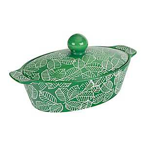 Green Leaf 1 Qt. Covered Oval Casserole Dish