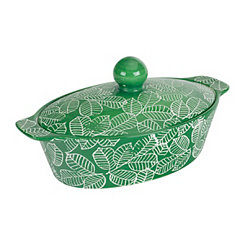 Green Leaf 1 Qt. Covered Oval Casserole Dish