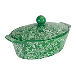 Green Leaf 2.5 Qt. Covered Oval Casserole Dish