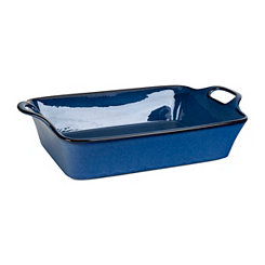 Blue Glaze Rectangle Casserole Dish with Handles