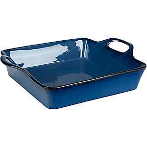 Blue Glaze Square Casserole Dish with Handles