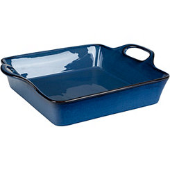 Blue Glaze Square Casserole Dish with Handles