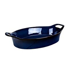 Blue Glaze Oval Casserole Dish with Handles