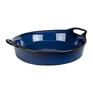 Blue Glaze Round Casserole Dish with Handles