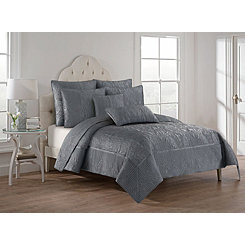 Gray Hannah 3-pc. King Quilt Set
