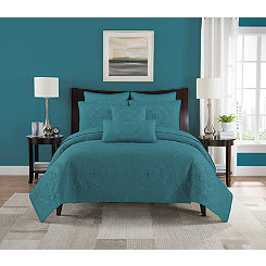 Aqua Pam Medallion 3-pc. Full/Queen Quilt Set